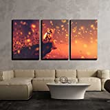 "wall26 - 3 Piece Canvas Wall Art - Illustration - Astronaut Sitting on Cliff'S Edge and Looking to Fireflies - Modern Home Decor Stretched and Framed Ready to Hang - 16""x24""x3 Panels"