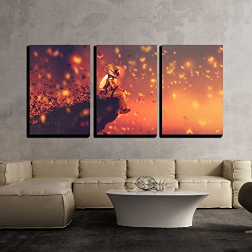 wall26 - 3 Piece Canvas Wall Art - Illustration - Astronaut Sitting on Cliff'S Edge and Looking to Fireflies - Modern Home Decor Stretched and Framed Ready to Hang - (Astronaut Framed)