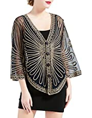 BABEYOND 1920s Embroidered Shawl Wraps Gatsby Open Front Embroidered Evening Cape with Button Bridal Shawl with Sleeves