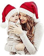 Family Matching Christmas Hat Winter Warmer Mother & Baby Knit Cap Xmas Parent-Child Pom Beanie Hat Santaa Crochet Hats