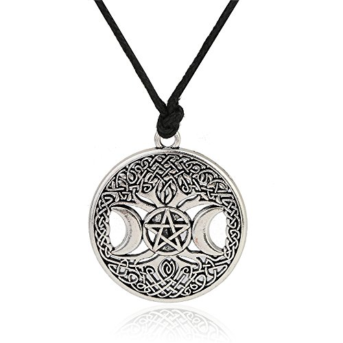 Triple Moon Goddess Pendant Tree of Life Necklace Pentacle Pentagram Wiccan