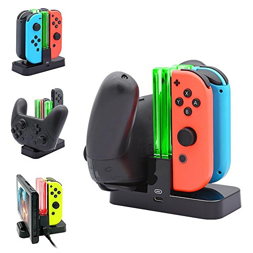 Nintendo Switch Joy-Con Charger - Leegoal Charging Dock Stand Station with Slide-In Design and Visual Impact Charging Indicator for Switch Joy-con and Pro Controller