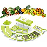 MSE 15 in 1 plastic Fruit and Vegetable Cutter, Grater, Slicer (Green, Dicer)