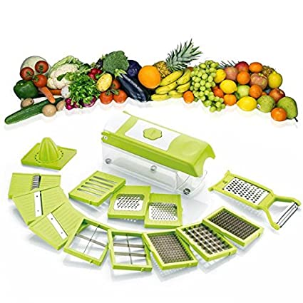 MSE 15 in 1 plastic Fruit and Vegetable Cutter, Grater, Slicer (Green, Dicer)