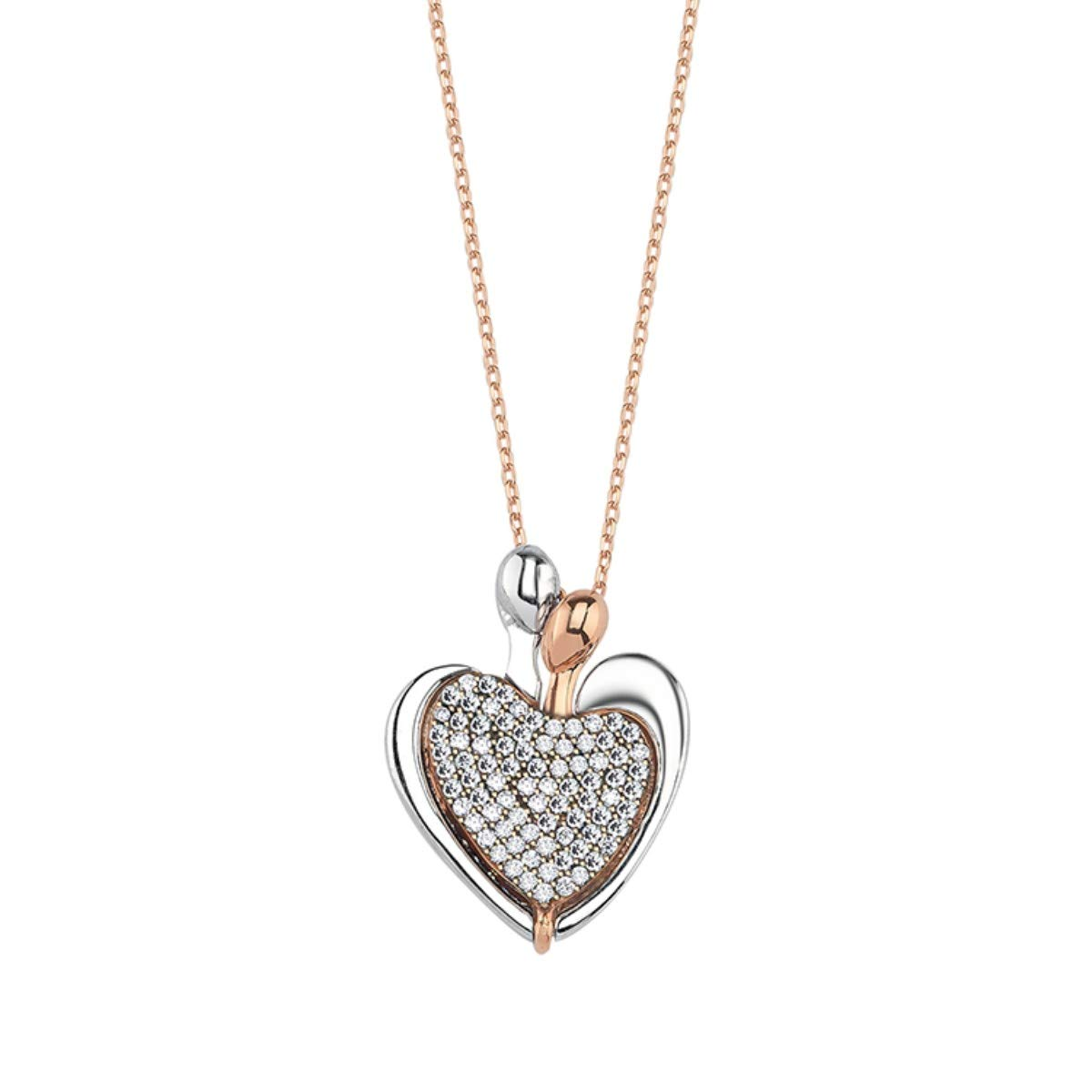 19 mm x 26 mm Available in Colours White//Gold//Rose Sterling Silver Size Creo Pendant Fashion Jwellery Valentines Love Heart Design