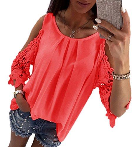 Sleeve Col Unie Chemisiers Haut t Blouse Half Rond Fashion Pastque rouge Femmes Tunique Creux Jinglive Couleur Shirts Dentelle Casual Tops T wXFOPSq
