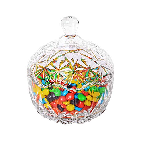 Catch The Candy Halloween 1 (ComSaf Glass Candy Dish with Lid Decorative Candy Bowl, Crystal Covered Storage Jar, Set of 1(Diameter:4.1)
