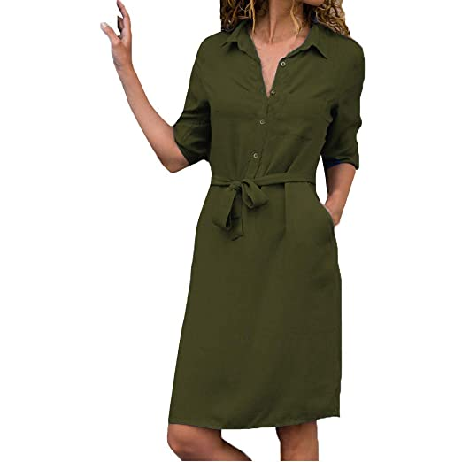 7d7b3a058e9 Amazon.com  DEATU Womens Dresses Ladies Daily Casual Long Sleeve Button  V-Neck Belted Work Mini Dress  Clothing