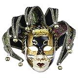 YU FENG Full Face Venetian Jester Mask Masquerade Black White Bell Joker Wall Decorative Art Collection(Black-13in)
