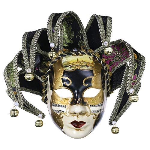 YU FENG Full Face Venetian Jester Mask Masquerade Black White Bell Joker Wall Decorative Art Collection(Black-13in) -