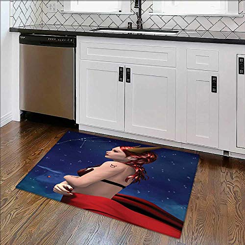 Soft Non Slip Absorbent Bath Rugs Taurus Girl with Horns Maleficent Zodiac Stars Venus Beauty Graphic Design Navy Red Machine Washable Large Mats Materials for $<!--$29.99-->