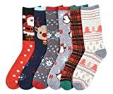 I&S 6 Pairs Christmas Socks, Printed Fun Colorful Festive, Crew Sock Women Fancy Design Soft (Christmas #2)