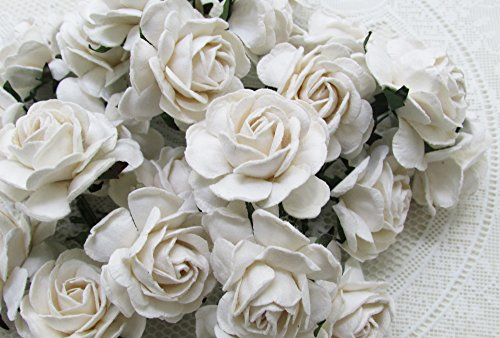 25 pcs BIG Rose pure White color Mulberry Paper Flower 40 mm scrapbooking wedding doll house supplies card