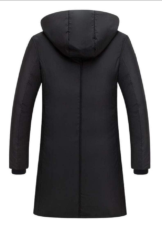 UNINUKOO Unko Men Outdoor Zip Up Hooded Mid-Length Loose Parka Jackets Coat