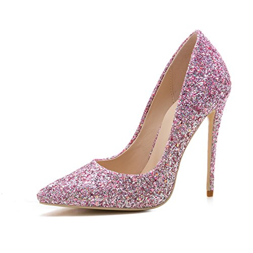MARY.YANXI Womens Pointed Toe 12CM High Heel Pumps Slip-on Sequins Pumps Wedding Party Pumps Shoes Pink cheap huge surprise tumblr cheap price good selling for sale footaction cheap price cheap sale browse TKWnU4o
