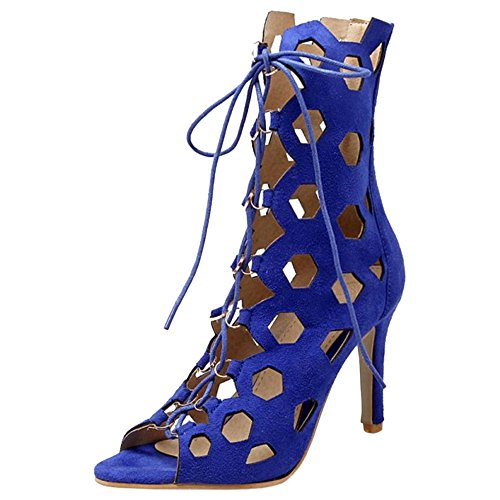 Toe Blue Boots 67 Women's TAOFFEN Summer Peep Sandals UHWx8