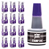 PRIMEPACK Stamp Ink Refill Set | Bulk 12 Pack - for Self Inking Stamps and Rubber Stamp Pads - Premium School and Office Supplies - Great for Kids, Children, Teacher – 1 oz. Bottle - Purple