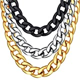 U7 Men Hip Hop Style Big Chain 15MM 18K Gold Plated Plated Stainless Steel Cuban Curb Chain Necklace 18''