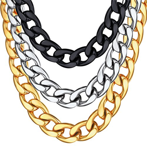 U7 Men Hip Hop Style Big Chain 15MM 18K Gold Plated Plated Stainless Steel Cuban Curb Chain Necklace 18'' by U7
