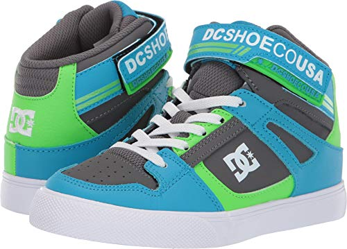 DC Boys' Pure HIGH-TOP EV Sneaker Grey/Green/Blue 13 M M US Little Kid (Dc Kids Shoes)