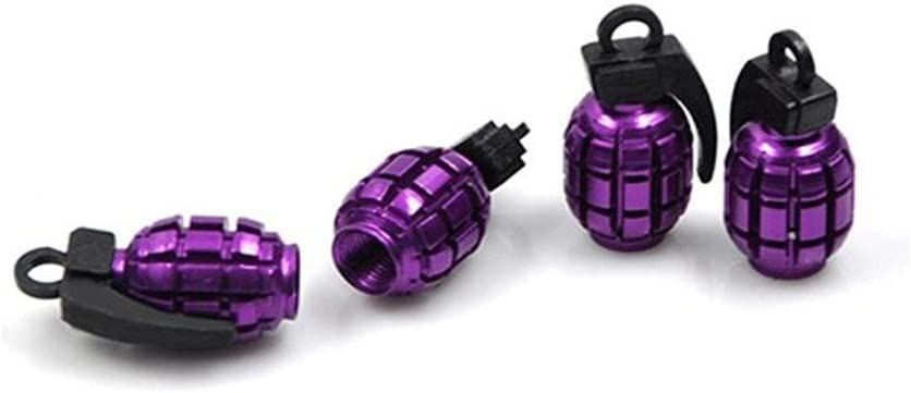 Ximkee Purple Grenade Shaped Tire Stem Valve Caps Cover with Gasket Rubber Rings for Cars 50 Pack Motorcycle Bikes