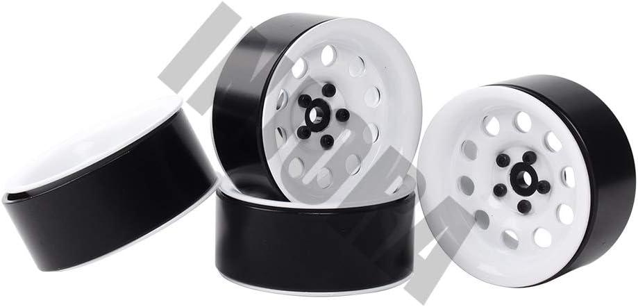INJORA 2.2 Inch Beadlock Wheel Rim for 1//10 RC Crawler Axial SCX10 RR10 90053 AX10 Wraith 90056 90045 90048 YETI 4Pcs//Set White Metal