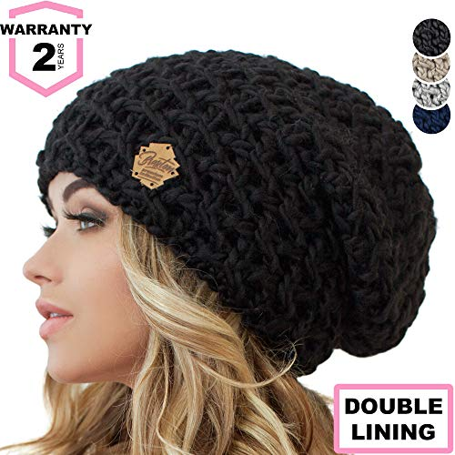 Braxton Slouchy Beanie for Women - Ski Cable Knit Winter Warm Large Hat - Wool Snow Outdoor Cap XL
