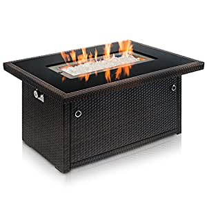 Outland Living Series 401 Brown 44-Inch Outdoor Propane Gas Fire Pit Table, Black Tempered Tabletop w/Arctic Ice Glass Rocks and Resin Wicker Panels, Espresso Rectangle