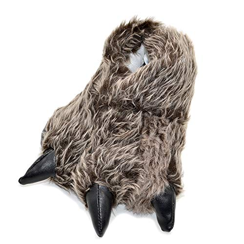 Millffy Funny Slippers Grizzly Bear Stuffed Animal Claw Paw Slippers Toddlers Costume Footwear (Large - (Men's Size), Grey Timber Wolf)