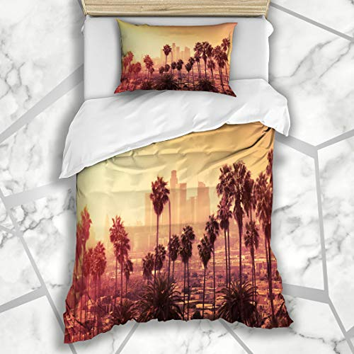 Ahawoso Duvet Cover Sets Twin 68X86 Red Orange Hollywood Sunset Los Angeles Downtown District Skyline Blue Palm California Tree City Microfiber Bedding with 1 Pillow Shams