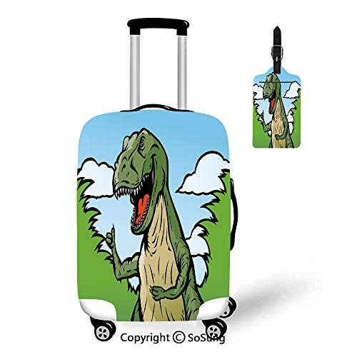 T-rex Tree Frog Dust - Dinosaur 3D Printed Luggage Cover & Luggage Tag,Fit for 23-26