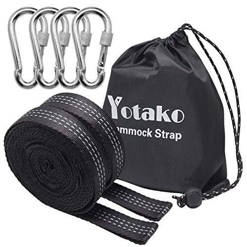 Yotako 2 Pack Hammock Tree Straps, Heavy Duty Camping Hammock Adjustable Polyester Suspension Straps 700lbs,Breaking Strength with 19 Loop - 4 Carabiners with Carrying Bag