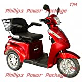 """E-Wheels - EW-38 Heavy Duty Bariatric Scooter - 3-Wheel - 19""""W x 21""""D Seat - Red - PHILLIPS POWER PACKAGE TM - TO $500 VALUE"""