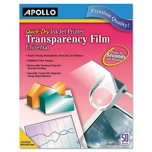 Transparency Film for Inkjet Devices, Clear, 50/Box, Sold as 1 Box, 50 Each per Box