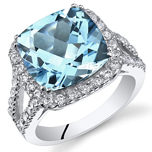 Large Blue Topaz Ring - 6.25 Carats Cushion Cut Swiss Blue Topaz Ring Sterling Silver Size 5