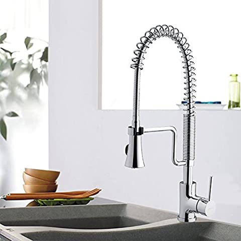 JOMOO Modern One-Handle High Arc Pre-Rinse Spring Pulldown Kitchen Faucet, Chrome - Deck Mounted Electronic Faucet