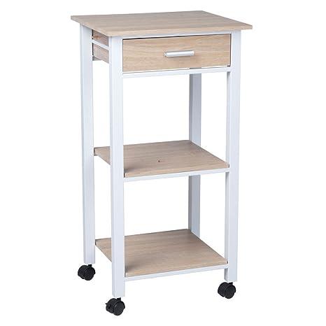 habeig carrello da cucina 1s bianco metallo legno di quercia kuechentrolley cassetto armadio cucina