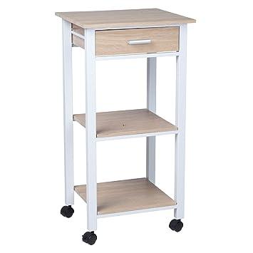Küchenwagen 1S Weiß Metall Eiche Holz Küchentrolley Schublade