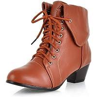 BalaMasa Womens Solid Frayed-Seams Travel Urethane Boots ABL10792