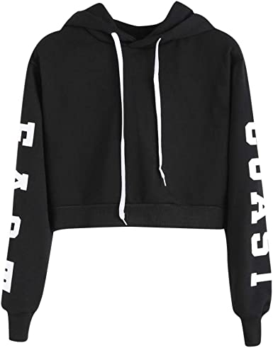 YYear Womens Winter Long Sleeve Crop Top Contrast Drawstring Pullover Hoodies Sweatshirt