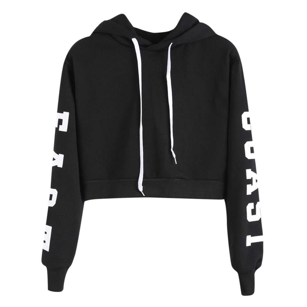 Cuekondy Women Teen Girls Letter Printed East Coast Long Sleeve Crop Top Hoodie Sweatshirt Casual Pullover Tops Blouse(Black,XL)