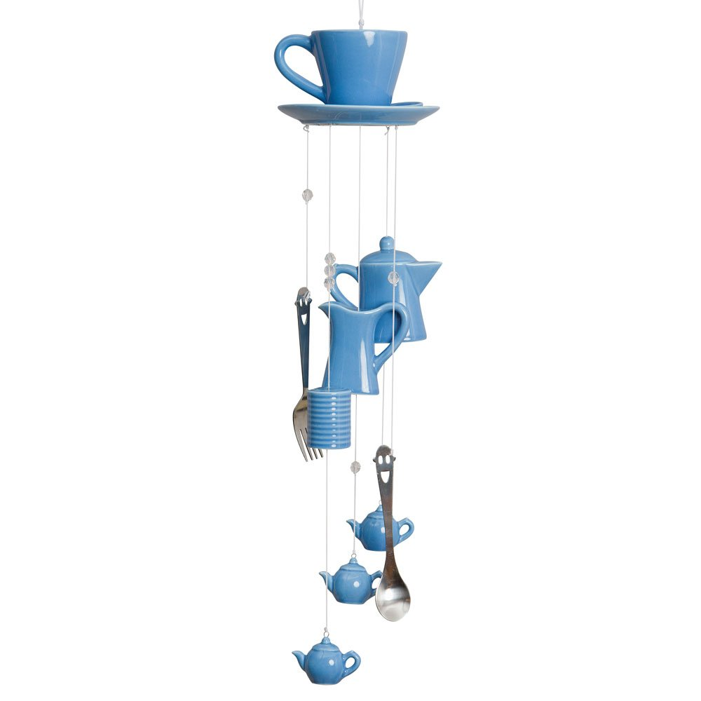 Bits and Pieces - Indoor-Outdoor Coffee Cup Chimes - Blue Ceramic Cup, Pitcher, Coffee Pot and Silverware Melville Direct