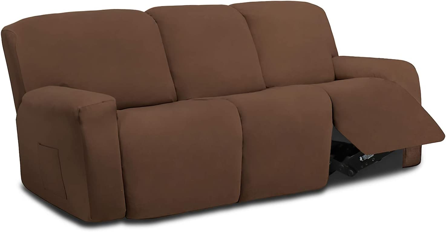 Easy-Going 8 Pieces Microfiber Stretch Sectional Recliner Sofa Slipcover Soft Fitted Fleece 3 Seats Couch Cover Washable Furniture Protector with Elasticity for Kids Pet(Recliner Sofa,Brown)