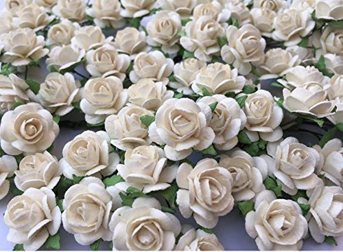 100 Pure White Roses Wedding Flower Artificial Paper Flowers Rose Scrapbooking Embellishment 15 mm.by Thai Decorated.
