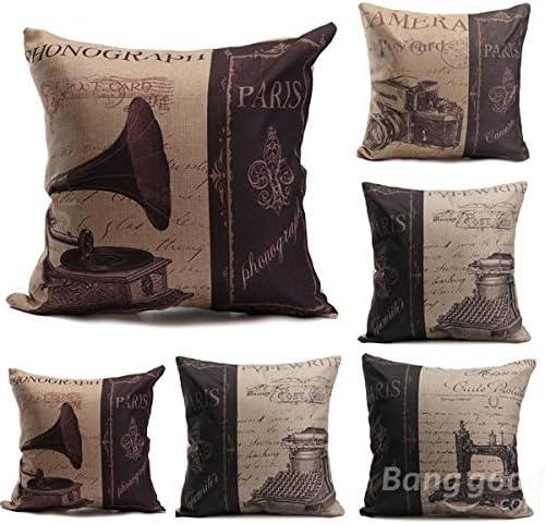 Bazaar Máquina de escribir fonógrafo funda de almohada de la cámara de máquinas de coser cubierta cojín del sofá nostálgico: Amazon.es: Hogar