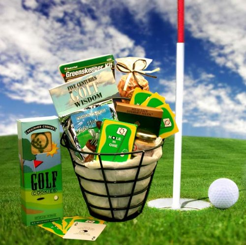 """Golfer's Caddy"" Gift Basket for Him – Makes a Great Gift for Golf Tournaments"