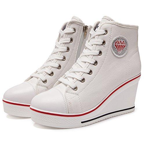 Blanco Cuña Hebilla 8CM Lateral Kivors High Cremallera 1 Zapatos Encaje Cuñas Top Zapatos Mujer Tacón Casuales De Lona nSqavC