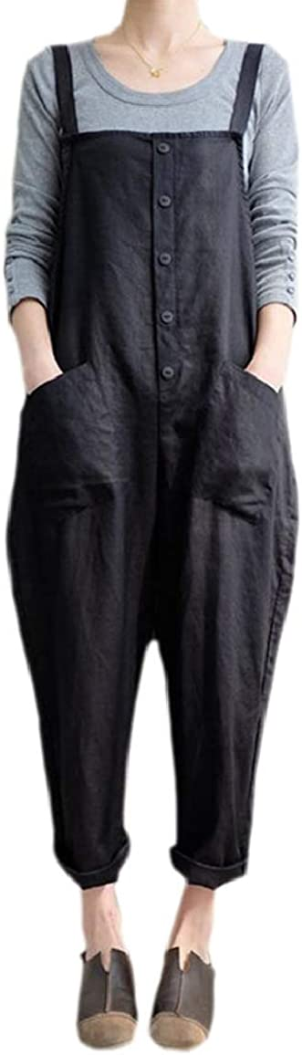 Jmwss QD Womens Plus-Size Breathable Cotton Linen Long Bib Pants