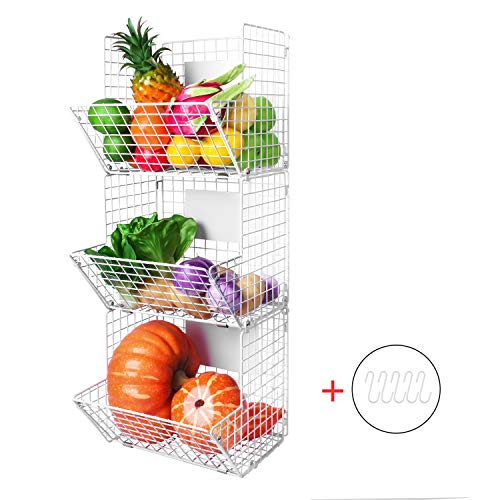 (Mertonzo Metal Wire Basket Wall Mount, 3 Tier Wall Storage Basket Organizer with Hanging Hooks Chalkboards, Rustic Kitchen Fruit Produce Bin Rack Bathroom Tower Baskets (White))