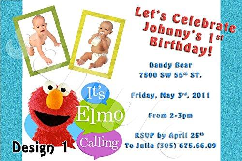 Elmo Sesame Street Personalized Birthday Invitations More Designs (Personalized Elmo Birthday Invitations)
